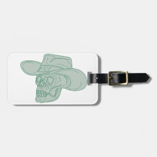 Cowboy Skull Drawing Luggage Tag