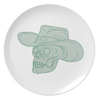 Cowboy Skull Drawing Plate