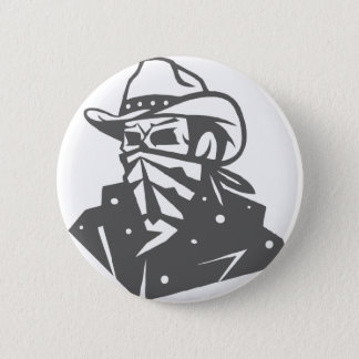 Cowboy Skull With Bandana And Hat 2 Inch Round Button