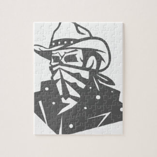 Cowboy Skull With Bandana And Hat Jigsaw Puzzle