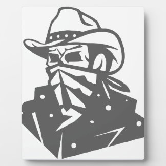 Cowboy Skull With Bandana And Hat Plaque
