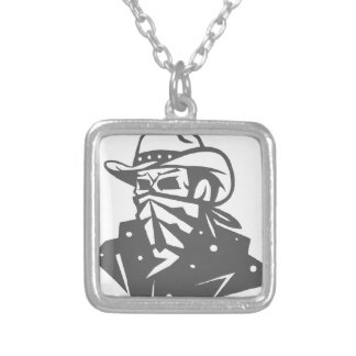 Cowboy Skull With Bandana And Hat Silver Plated Necklace