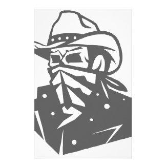 Cowboy Skull With Bandana And Hat Stationery