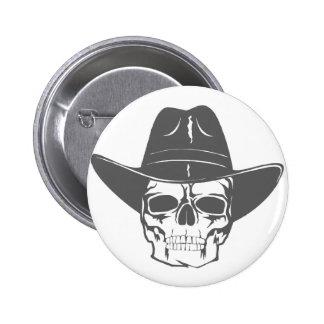 Cowboy Skull With Hat 2 Inch Round Button