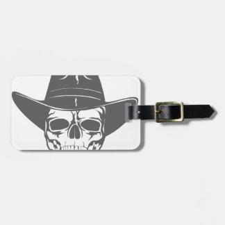Cowboy Skull With Hat Bag Tag