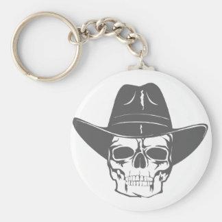 Cowboy Skull With Hat Basic Round Button Keychain