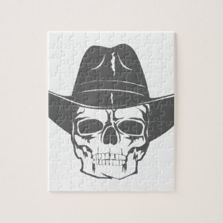 Cowboy Skull With Hat Jigsaw Puzzle