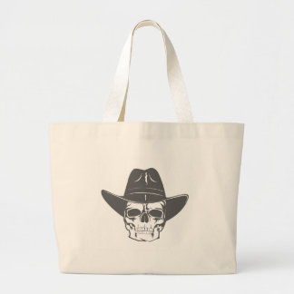 Cowboy Skull With Hat Large Tote Bag