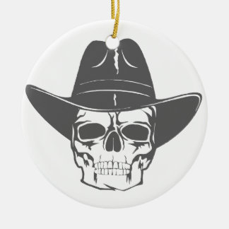 Cowboy Skull With Hat Round Ceramic Ornament