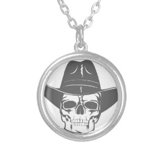 Cowboy Skull With Hat Silver Plated Necklace