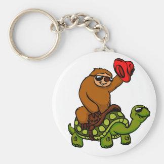 Cowboy sloth Riding Turtle Keychain