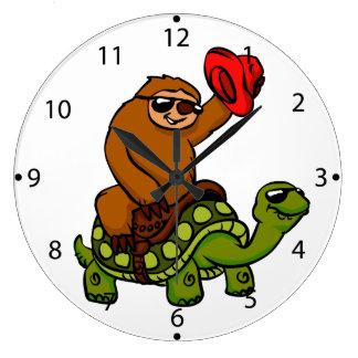 Cowboy sloth Riding Turtle Large Clock