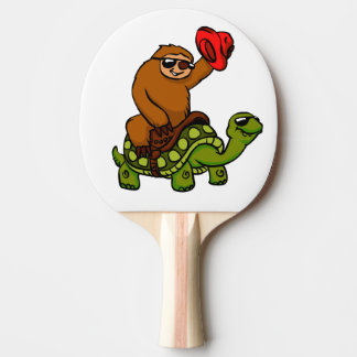 Cowboy sloth Riding Turtle Ping Pong Paddle