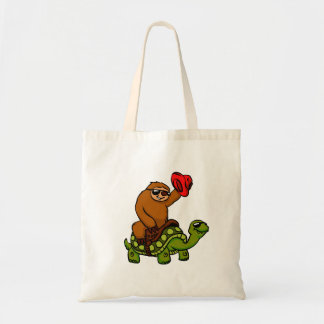 Cowboy sloth Riding Turtle Tote Bag