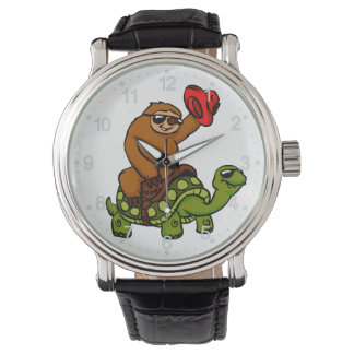 Cowboy sloth Riding Turtle Watch