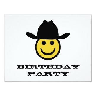 "Cowboy Smiley Birthday Party 4.25"" X 5.5"" Invitation Card"