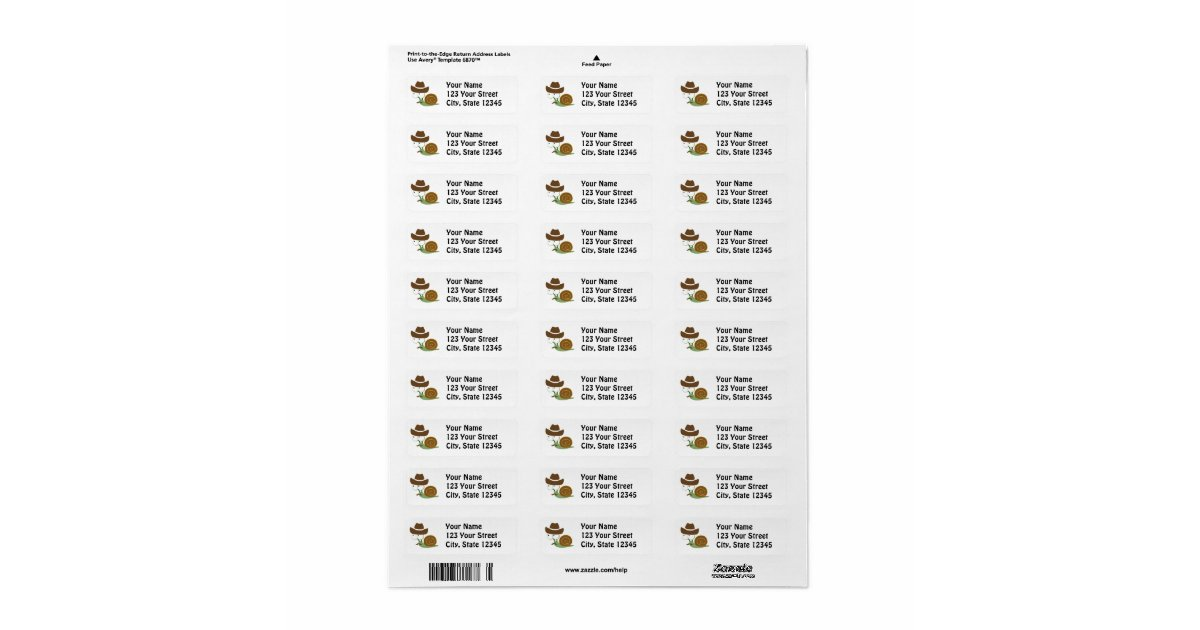 avery 6870 template - cowboy snail return address label zazzle