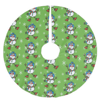 Cowboy Snowman Brushed Polyester Tree Skirt