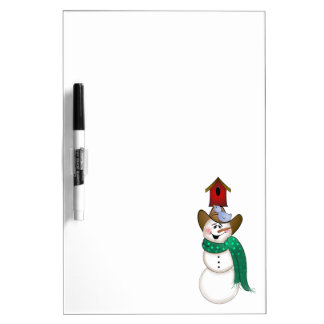 Cowboy Snowman with Birdhouse Dry-Erase Whiteboards