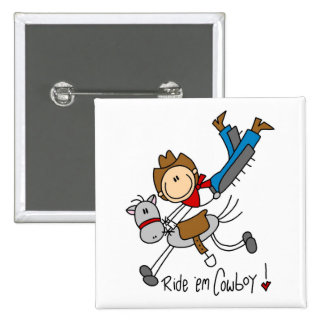 Cowboy Stick Figure Tshirts and Gifts 2 Inch Square Button