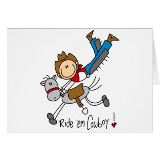 Cowboy Stick Figure Tshirts and Gifts Greeting Card