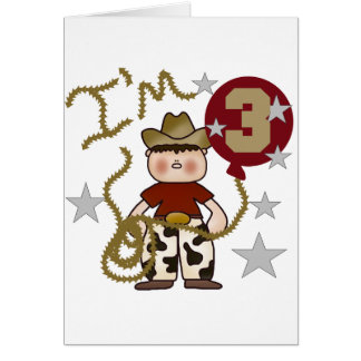 Cowboy Third Birthday T-shirts and Gifts Card