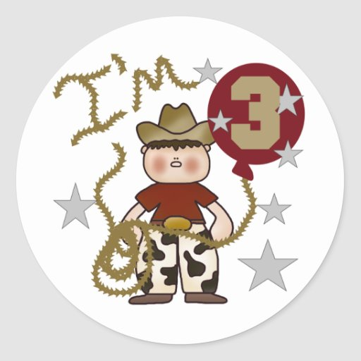 Cowboy Third Birthday T-shirts and Gifts Round Stickers