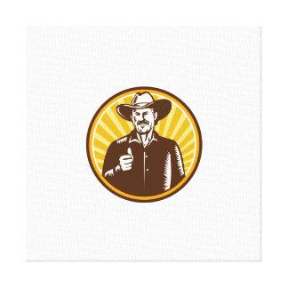 Cowboy Thumbs Up Sunburst Circle Woodcut Canvas Print