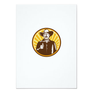 Cowboy Thumbs Up Sunburst Circle Woodcut Card