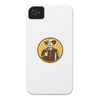 Cowboy Thumbs Up Sunburst Circle Woodcut iPhone 4 Case-Mate Cases