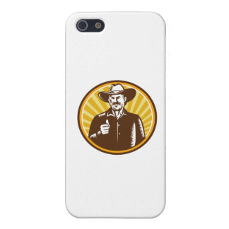 Cowboy Thumbs Up Sunburst Circle Woodcut iPhone 5/5S Cover