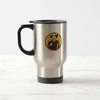 Cowboy Thumbs Up Sunburst Circle Woodcut Travel Mug