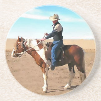 Cowboy training a painted stallion coaster