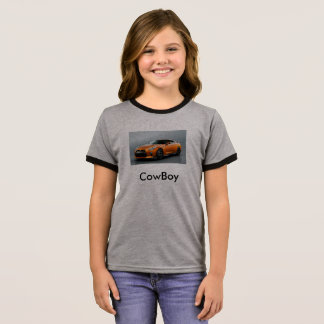 CowBoy Tube Kids Girls t-shrits Ringer T-Shirt