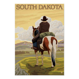 Cowboy (View from Back)South Dakota Poster