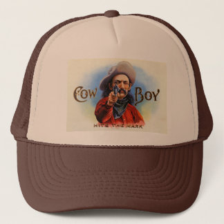 Cowboy - Vintage Ad - Hits the Mark Trucker Hat