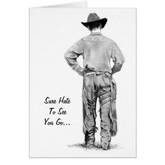 Cowboy Walking: Pencil Realism Art: Leaving Card