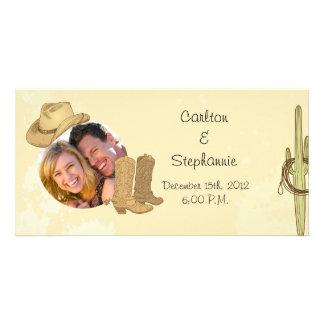 Cowboy Wedding Photo Announcement Photo Greeting Card