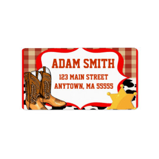 Cowboy Western Birthday Party Address Labels