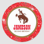 Cowboy Western Old West Birthday Baby Shower Round Sticker