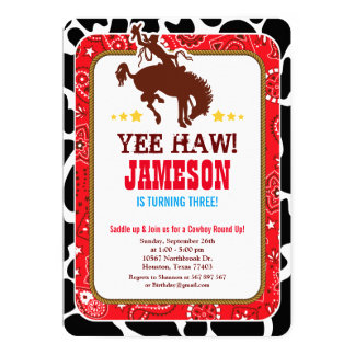 Cowboy Western Old West Birthday Party Invitation