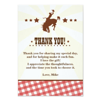Cowboy Western Rodeo Birthday Thank You Card