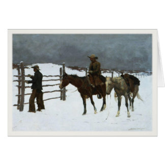 Cowboy Winter Greetings With Old Painting Card