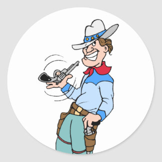 Cowboy with his Gun Classic Round Sticker