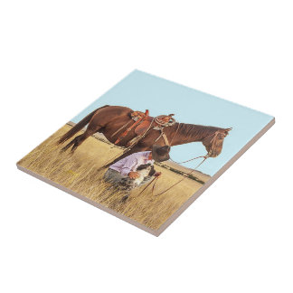 Cowboy With Horse And Dog Tile
