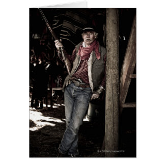 Cowboy with Pistol and Rifle Card