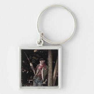 Cowboy with Pistol and Rifle Key Chain