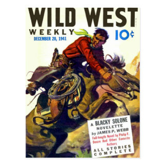 Cowboy With Wildly Bucking Horse Postcard