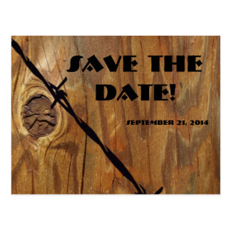 Cowboy Wood and Barbwire Save the Date Postcard
