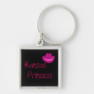 cowboyha_pink_dark, Kansas, Princess Silver-Colored Square Keychain
